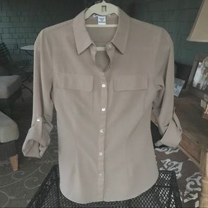 Woman's taupe button down blouse.  Body Central. S